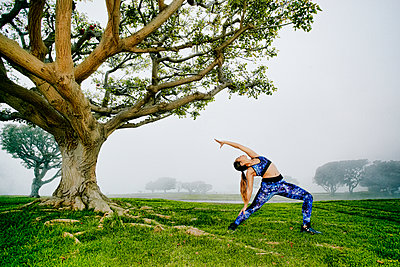Mixed race woman exercising and stretching near tree - p555m1532670 by Peathegee Inc
