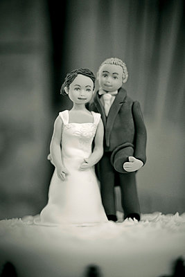 Iced Bride and Groom figures on top of wedding cake - p1072m830523 by Neville Mountford-Hoare