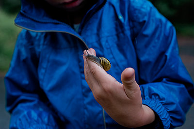 young boy standing in the rain holding a snail in his hand - p1166m2136102 by Cavan Images