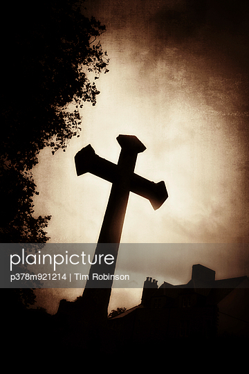 Silhouette of stone cross - p378m921214 by Tim Robinson