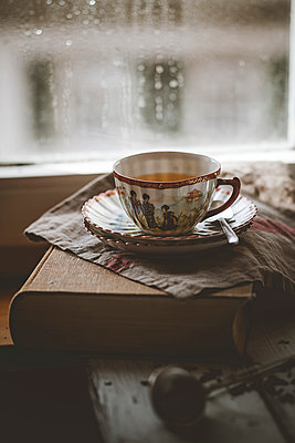 Cup of Chinese green jasmin tea on book - p300m926625f by Susan Brooks Dammann