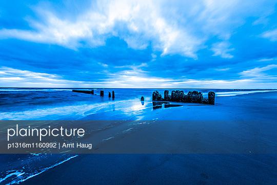 Buhnen am Strand in der Dämmerung, Kampen, Sylt, Schleswig-Holstein, Deutschland - p1316m1160992 von Arnt Haug