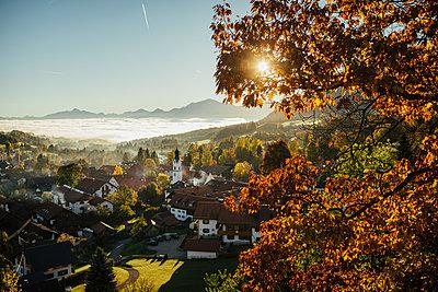 Sunny, idyllic scenic autumn view of townscape, Bad Kohlgrub, Bayern, Germany - p301m2075642 by Sven Hagolani