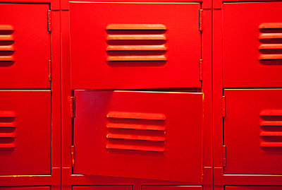 Two Partially Open Red Lockers - p694m756526 by Adam Marcinek