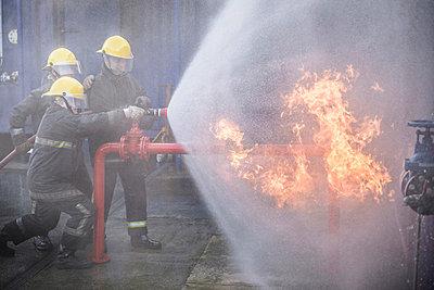Firefighters in simulation training - p429m768901f by Monty Rakusen
