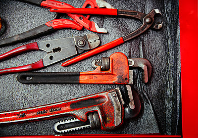 Red wrenches and pliers - p1023m2196751 by Tom Merton