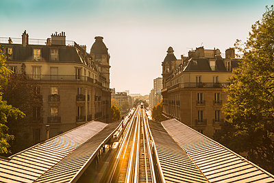 Railway tracks and buildings in Paris - p1332m1502755 by Tamboly