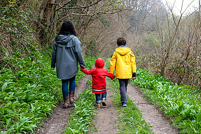 Mother and sons walking together on a rainy misty day in woodland.  - p429m2164633 by Bonfanti Diego