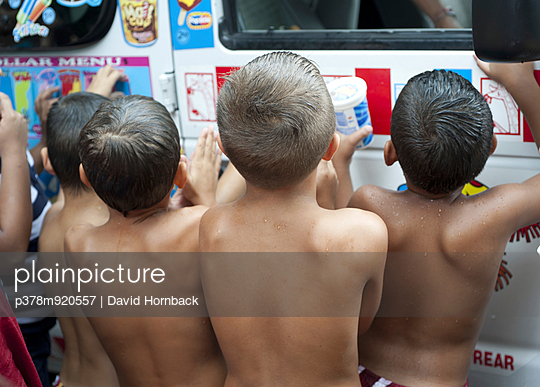 Four shirtless boys backs - p378m920557 by David Hornback