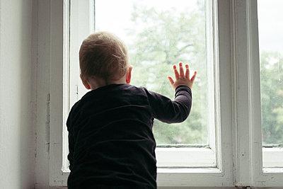 Baby boy looking out of living room window - p795m2160971 by JanJasperKlein
