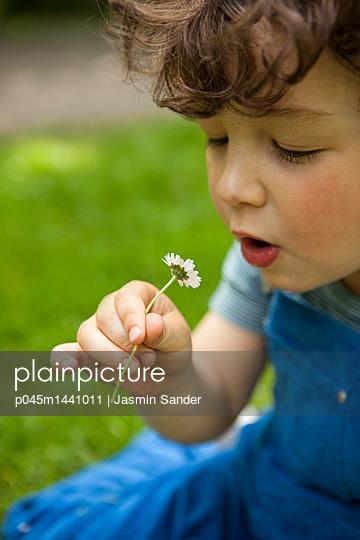 Junge unterhält sich mit Gänseblümchen - p045m1441011 von Jasmin Sander