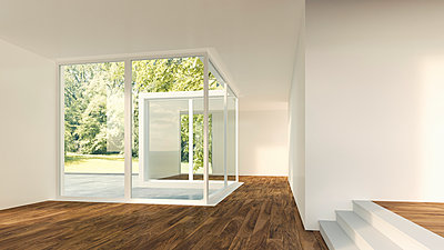 3D Rendering of modern home interior with view to garden - p300m1047610f by HuberStarke
