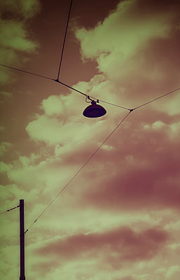 Street lantern lamp power telephone pole clouds - p609m2208319 by WALSH photography