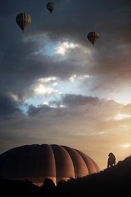 Air balloons flying over the rocks of Cappadocia - p1577m2175358 by zhenikeyev