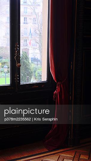 Red velvet curtain - p378m2235562 by Kris Seraphin