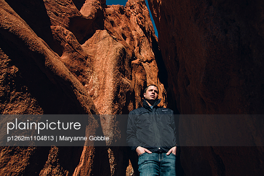 Man in Garden of the Gods Park - p1262m1104813 by Maryanne Gobble