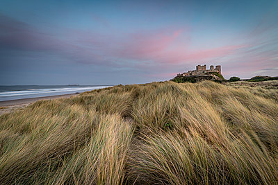 Sunset at Bamburgh Castle, Bamburgh, Northumberland, England, United Kingdom - p871m2111469 by Bill Ward