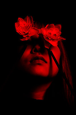 Woman, Eyes covered with flowers - p1229m2073269 by noa-mar