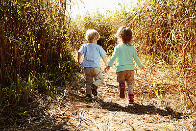 Boy and girl holding hands in field with crops - p1427m2283185 by Roberto Westbrook