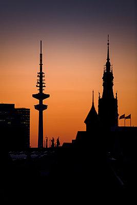 Blick auf Fernsehturm und Rathaus bei Dämmerung, über den Dächern der Hamburger Speicherstadt  - p1493m1584471 von Alexander Mertsch