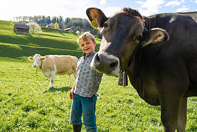 Happy boy with cow on pasture - p300m2114146 by Francesco Buttitta