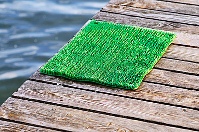 Doormat and lake - p7150069 by Marina Biederbick