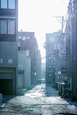 Garbage cans in urban alleyway, Chicago, Illinois, United States - p555m1459343 by Chris Clor
