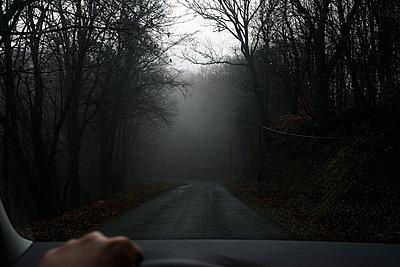 Car ride through woodland on road in the fog - p1118m1548013 by Tarik Yaici