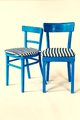 Two blue kitchen chairs - p550m2270077 by Thomas Franz