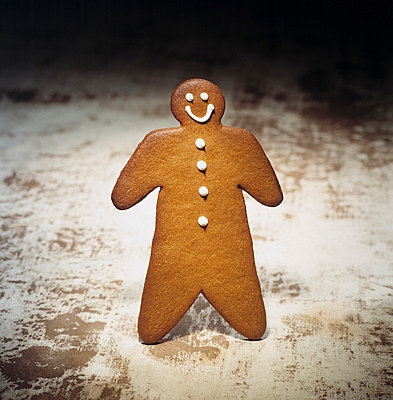 Close-up of a gingerbread man - p3483892 by Richard Kail
