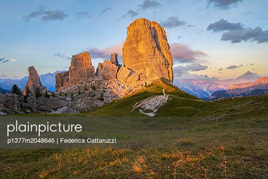 Italy, Veneto, Belluno district, Alps, Dolomites, Cadore, Cortina d'Ampezzo, Falzarego Pass, the mountainous complex of Cinque Torri at sunset, Dolomites, Cortina d'Ampezzo - p1377m2048646 by Federica Cattaruzzi