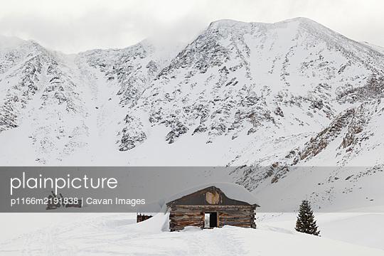 Log cabin ruins of Boston Mine, Mayflower Gulch, Colorado - p1166m2191838 by Cavan Images