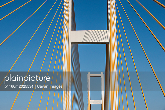 Low angle view of John James Audubon Bridge against clear sky - p1166m2025591 by Cavan Images
