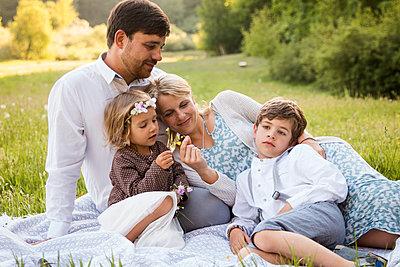 Familienportrait im Gras - p796m2092712 von Andrea Gottowik