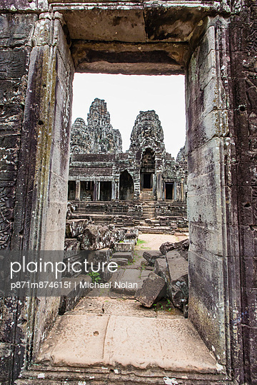 Face towers in Bayon Temple in Angkor Thom