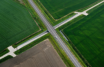 Fields and country roads in spring, Stroodorp, Zeeland, Netherlands - p429m2004576 by Mischa Keijser