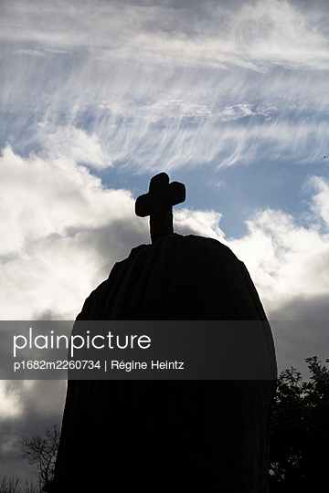 Christianised menhir in Brittany, France - p1682m2260734 by Régine Heintz