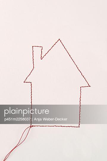 Sewed house - p451m2258037 by Anja Weber-Decker