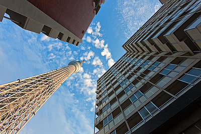 Tokyo Skytree, the world's tallest free-standing broadcast tower at 634 meters, is seen above apartment buildings near Narihirabashi Station, located in the Sumida district of the old downtown shitamachi area in Tokyo, Japan. - p855m1122262 by Ben Simmons