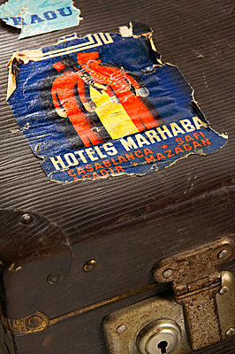 Old suitcase with travel stickers - p300m879477 by Tom Hoenig