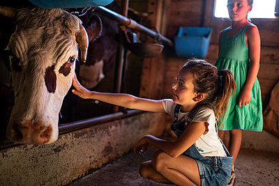 Two girls in cow stable - p1007m2219957 by Tilby Vattard