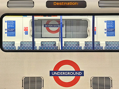 Underground tube train at Seven Sisters, London - p1048m2016750 by Mark Wagner