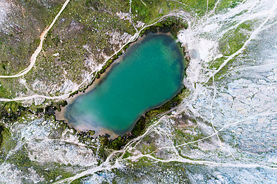 Aerial of a lake in Rotenboden, Zermatt close to Matterhorn - p1332m1491279 by Tamboly