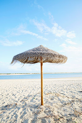 Straw parasol by the sea - p464m2082415 by Elektrons 08