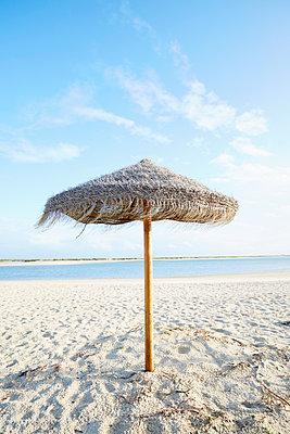 Sonnenschirm aus Stroh am Meer - p464m2082415 von Elektrons 08