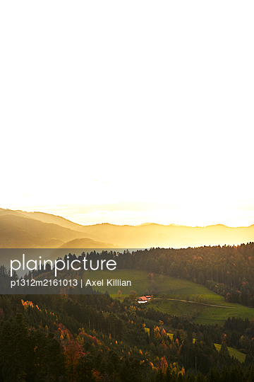 Black Forest with a view of a farmhouse and the valley - p1312m2161013 by Axel Killian