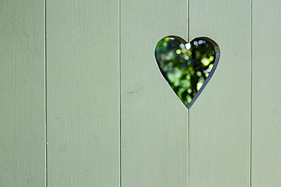 Garden gate with heart-shaped hole - p1057m916775 by Stephen Shepherd