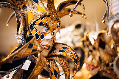 Traditional Venetian masks on display, San Marco, Venice, Veneto Province, Italy, Europe - p871m2003613 by Ben Pipe