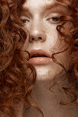 Emotional sensitive portrait of a red-haired girl - p1561m2133256 by Andrey Cherlat
