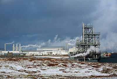Power plant in arctic landscape - p555m1415725 by Pete Saloutos